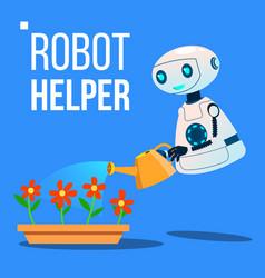 Robot helper watering flowers in garden vector