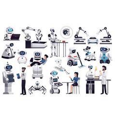 Robots artificial intelligence set vector