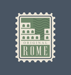 Rome city postal stamp with abstract colosseum vector