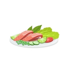 Salmon European Cuisine Food Menu Item Detailed vector