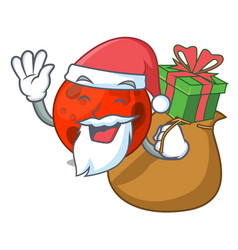 Santa with gift mars planet mascot cartoon vector