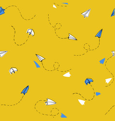 seamless hand drawn paper planes pattern yellow vector image