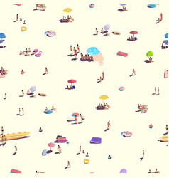 seamless pattern people relax on sandy beach vector image