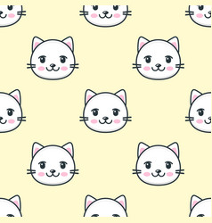 seamless pattern with cute white cat faces vector image