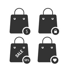 Set of black shopping bags vector