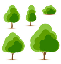 Set of tree and bush icons vector