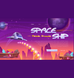 Spaceship mobile game website with rocket in space vector