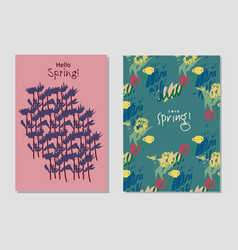 spring set universal floral cards and text signs vector image