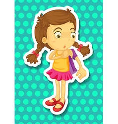 Sticker of girl wearing jacket vector