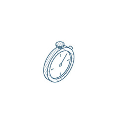 stopwatch isometric icon 3d line art technical vector image