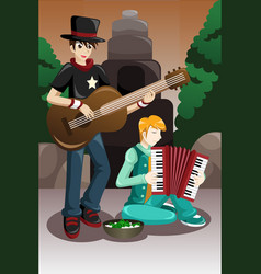 street musicians performing vector image