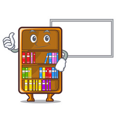Thumbs up with board mascot bookcase beside the vector
