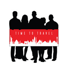 time to travel with people silhouette vector image
