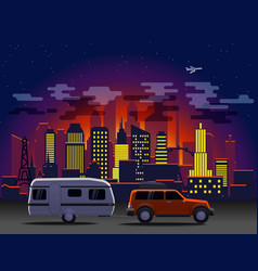 travelling car in modern city with night vector image
