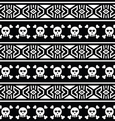 Tribal Aztec seamless pattern with skull on black vector image
