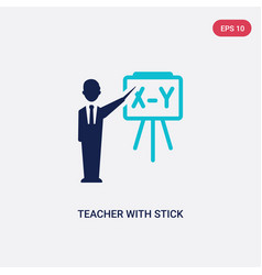 two color teacher with stick icon from education vector image