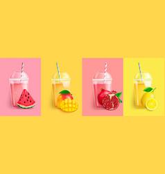 watermelon mango pomegranatelemon smoothie set vector image