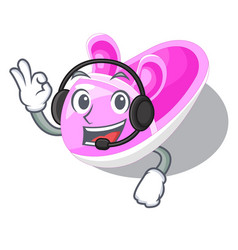 With headphone baby shoes isolated in the mascot vector