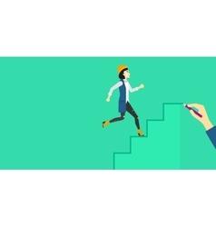Woman running upstairs vector
