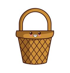 empty basket market kawaii cute cartoon vector image