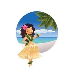 hawaiian young hula dancer on ocean beach vector image