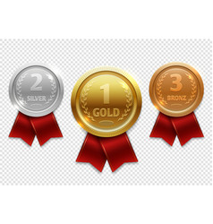 champion gold silver and bronze award medals with vector image