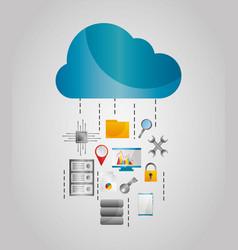 Cloud data streams storage file protection tools vector