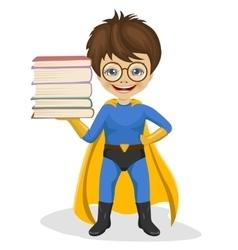 little superhero boy holding stack of books vector image vector image
