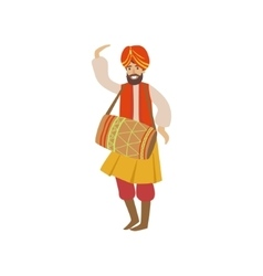 Man In Indian National Outfit Playing Drum vector image vector image