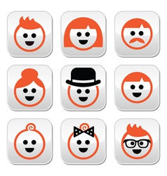 People with ginger hair buttons set vector image vector image