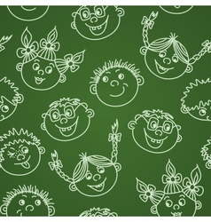 Seamless doodle smiling kids faces on chalkboard vector image
