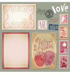 Set of vintage postcards for Valentines Day design vector image vector image