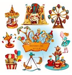 Amusement Park Colored Set vector image