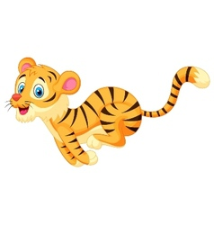 Cute tiger cartoon running vector image vector image