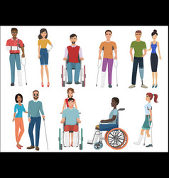 disabled people with friends helping them set vector image