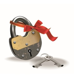 Lock with ribbon vector image