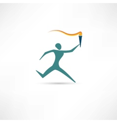 running man with a torch icon vector image