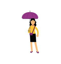 young brunette woman standing under purple vector image vector image