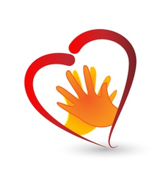 Hands and heart symbol logo vector image vector image