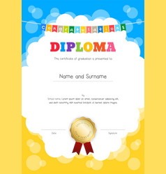Portrait kids diploma or certificate of vector