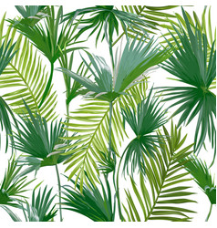 Tropical palm leaves seamless floral pattern vector