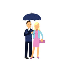 young family couple standing under blue umbrella vector image vector image