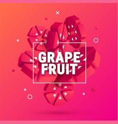 3d geometric grapefruit banner vector image