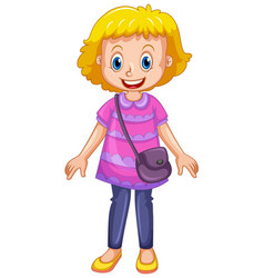 A cute girl cartoon character vector