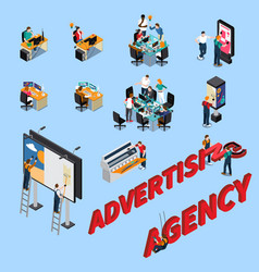 Advertising agency isometric people vector