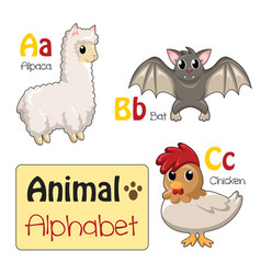 alphabet animals from a to c vector image
