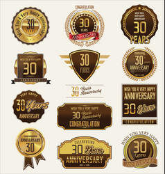 Anniversary golden labels and badges 30 years vector