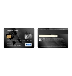 Blaxk credit card two sides in realistic style vector
