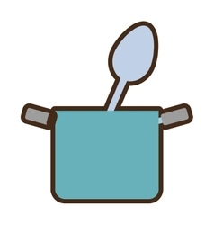 Blue pot with spoon food kitchenware vector