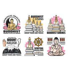 Buddhism religion symbols buddhist symbolic icons vector